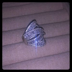 Sterling silver CZ layered ring - size 8